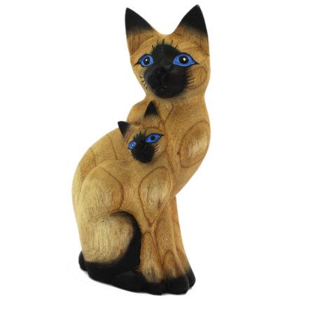 Katze Mit Kind Holzfigur Aus Albesiaholz Bemalt