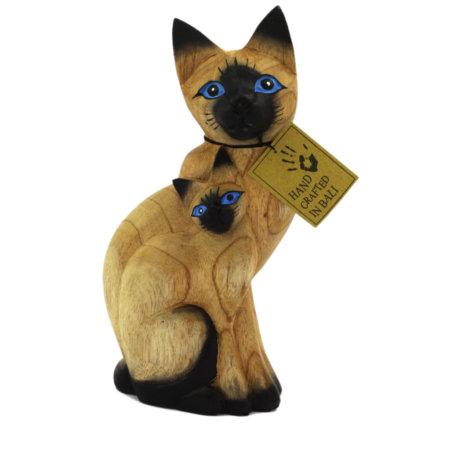 Katze Mit Kind Holzfigur Aus Albesiaholz Bemalt Front Handgemacht