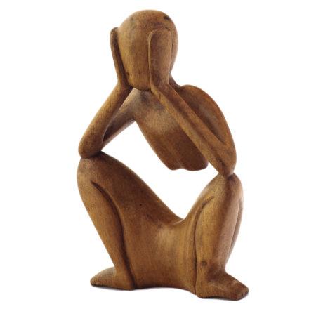 Skulptur Ruhender Aus Suarholz Seitlich