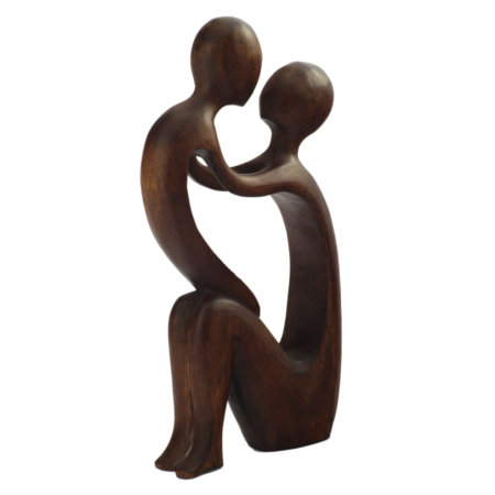 Skulptur Yoga Paar Aus Suarholz