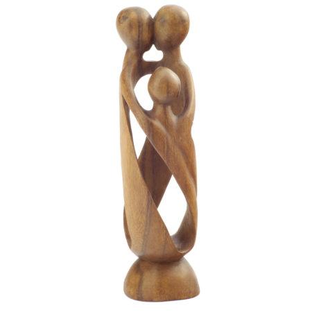 Skulptur Liebende Familie Aus Suarholz