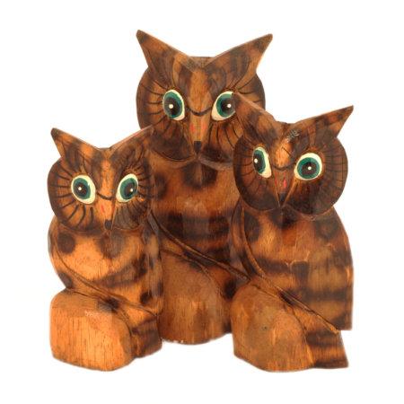 Holzfiguren Eulenfamilie
