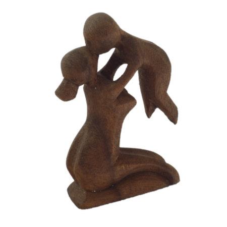 Mutter Kind Moderne Holzfigur Aus Suarholz