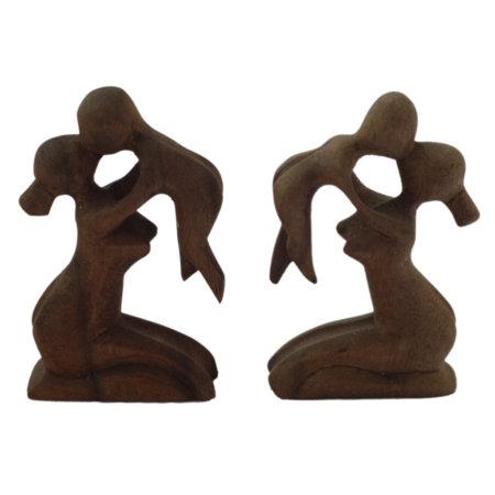 Mutter Kind Moderne Holzfigur Aus Suarholz Doppelt