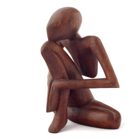 Yoga Mann Teakanholz Skulptur Profil